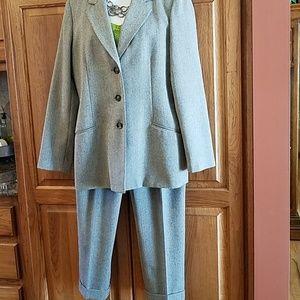 Gray herringbone blazer and slacks